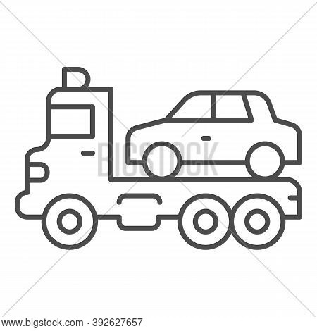Tow Truck With Car Thin Line Icon, Heavy Equipment Concept, Evacuator Car Sign On White Background,