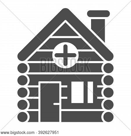 Old Wooden House Solid Icon, Christmas Concept, Timbered And Wood Home Sign On White Background, Rur