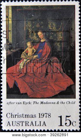 AUSTRALIA - CIRCA 1978: A stamp printed in Australia shows Virgin and Child after Van Eyck circa 197
