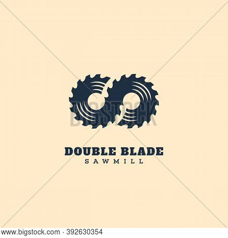 Logo Design Template With Two Stylized Blades For Sawmill, Wood Shop, Carpentry, Lumberjack Service,