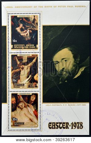 COOK ISLANDS - CIRCA 1978: Collection stamps printed in cook island shows Three Easter themed painti