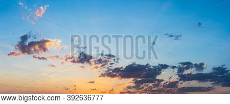Beautiful Sunset With Blue Sky And Clouds Natural Background.