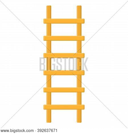 Cartoon Wooden Ladder Icon Isolated On White Background. Vector Illustration In Cartoon Style For Yo