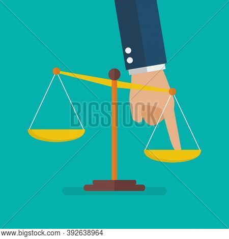 Hand Pushing Scale Out Of Balance. Unequal Concept. Vector Illustration