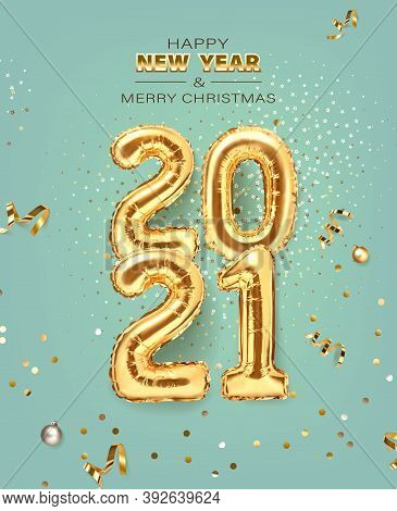 2021 Golden Decoration Holiday On Trendy Background. Shiny Party Background. Gold Foil Balloons Nume