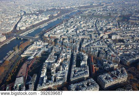Paris, France - November 21, 2018: Paris city and Seine river view from Eiffel Tower