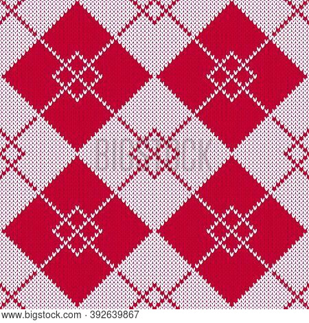 Red And White Argyle Sweater Pattern. Seamless Knitted Diamond Pattern With White And Red Rhombuses