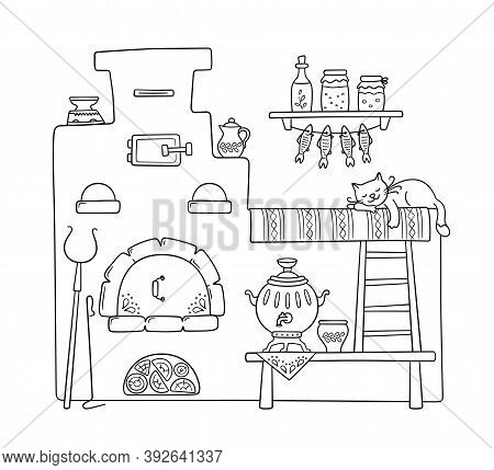 Traditional Old Russian Stove With Bench, Samovar, Grip, Pots, Jug And Sleep Cat. Vector Hand Drawn