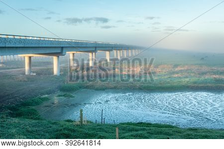 New Built Whirokino Bridge On A Misty Morning.