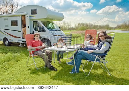 Family Vacation, Rv Travel With Kids, Happy Parents With Children Have Fun On Holiday Trip In Motorh