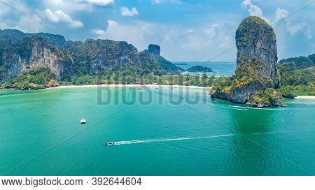 Railay Beach In Thailand, Krabi Province, Aerial Bird\'s View Of Tropical Railay And Pranang Beaches