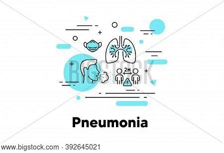Pneumonia Line Icon. Coronavirus Covid Symptoms Illustration. Asthma, Tuberculosis And Respiratory D