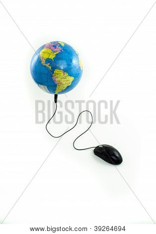 Mouse connected to globe viewing the Americas