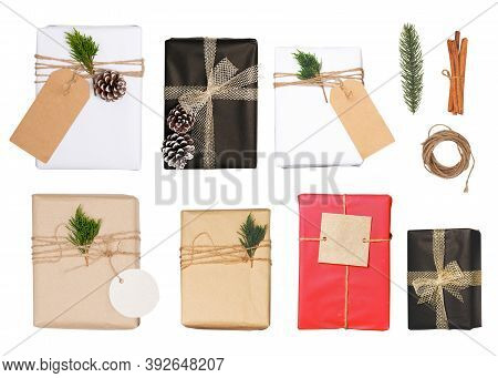 Christmas Gift Box With Greeting Tag - Christmas Present Isolated On White Background With Clipping