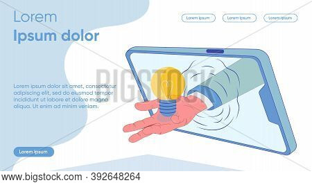 Male Hand Holds Out Luminous Bulb From Tablet. Creation Controlling Product. Studying Rating On Subj