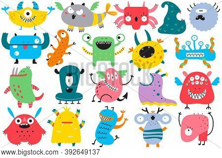 Monsters Doodle Set. Collection Of Colorful Cartoon Characters Spooky Creatures Alliens Ugly Cyclops
