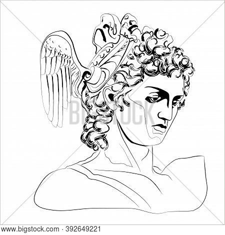 Vector Illustration Of The Head Of The God Perseus. Isolated Image Of Anic God.