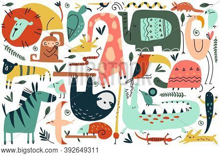 Animals Doodle Set. Collection Of Funny Colorful Cartoon Characters Cute Wild African Safari Mammals
