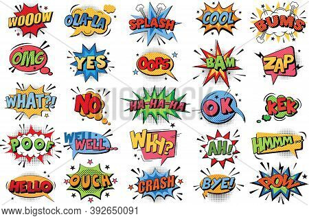 Comic Book Bubbles Doodle Set. Collection Of Cartoon Emotional Colour Explosions Funny Comical Speec