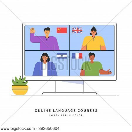 E-learning Of The Foreign Languages. Distance Online Education Concept. Teachers From Different Coun