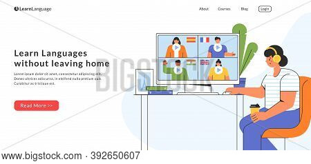 E-learning At Home. Landing Page Template. Young Woman Chooses A Course To Study A Foreign Language
