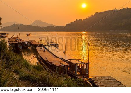 The Local Boat With Beautiful Sunset View Over Mekong River In Luang Prabang, Laos. Mekong River, Th