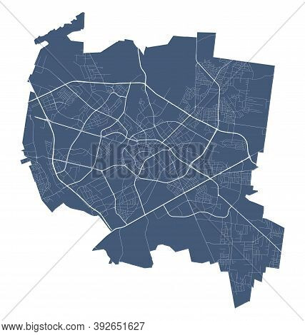 Bialystok Map. Detailed Vector Map Of Bialystok City Administrative Area. Cityscape Poster Metropoli
