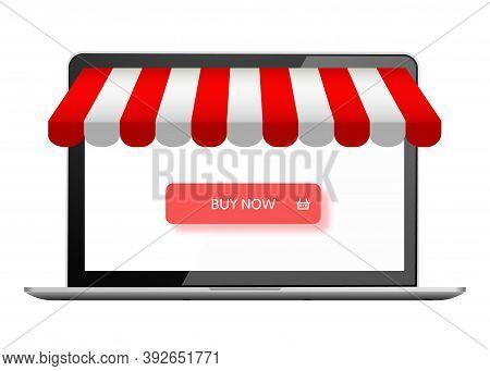 Online Store. Digital Marketing, Shop. E-commerce Shopping Concept. Buy Now Button On Laptop