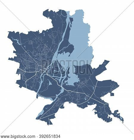 Szczecin Map. Detailed Vector Map Of Szczecin City Administrative Area. Cityscape Poster Metropolita