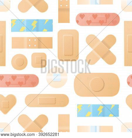 Seamless Pattern With Realistic Medical Plaster Of Various Shapes. Repeatable Background With Differ