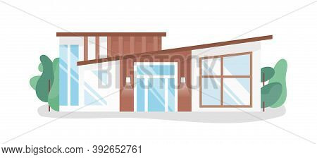 Modern Contemporary House Design. Simple And Minimalist Cottage With Large French Windows. Stylish R