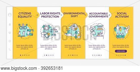 Social Change Advantages Onboarding Vector Template. Labor Rights Protection. Environmental Shift. R