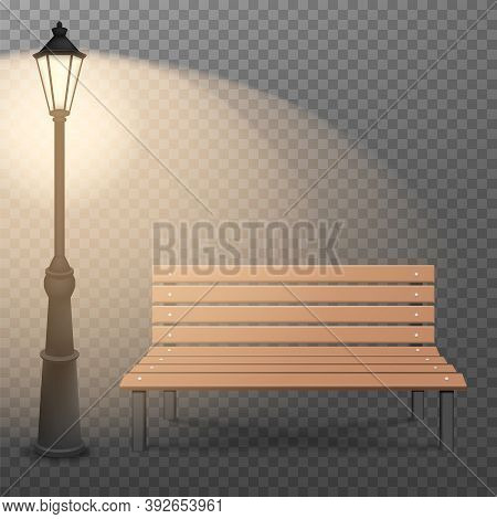Bench And Streetlight Isolated On Transparent Background. Vector Illustration.