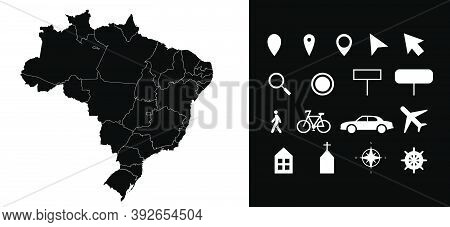 Map Of Brazil Administrative Regions Departments With Icons. Map Location Pin, Arrow, Looking Glass,