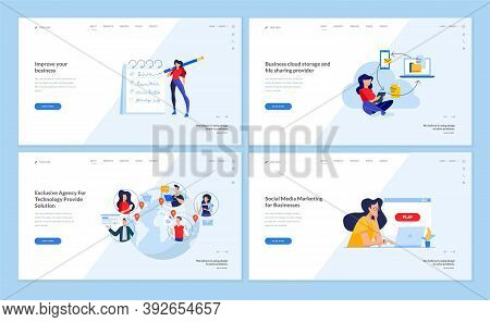 Web Page Design Templates Collection Of Cloud Computing, Networking, Digital Marketing. Vector Illus