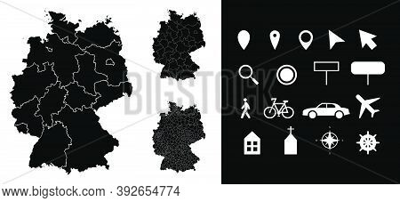 Map Of Germany Administrative Regions Departments With Icons. Map Location Pin, Arrow, Looking Glass