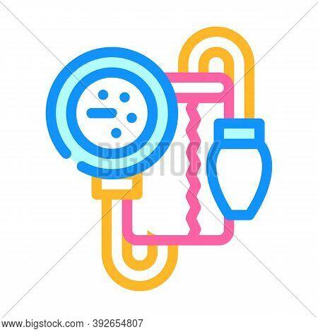 Tonometer For Check Blood Pressure Color Icon Vector Illustration