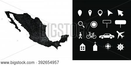 Map Of Mexico Administrative Regions Departments With Icons. Map Location Pin, Arrow, Looking Glass,