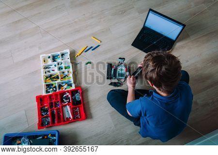 Boy Building Robot At Home, Stem For Kids