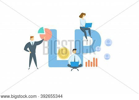 Lp, Limited Partnership. Concept With Keyword, People And Icons. Flat Vector Illustration. Isolated