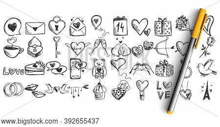 Love Doodle Set. Collection Of Pen Pencil Chalk Hand Drawn Sketches Templates Patterns Of Lover Lett