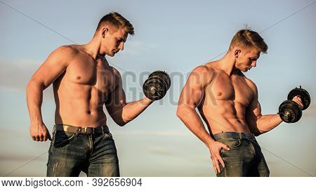 Strong Muscular Athlete Bodybuilder. Attractive Twins. Healthy Athletic Body. Sexy Torso Attractive