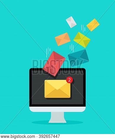 Email On Computer Screen For Marketing. Newsletter In Mail Inbox. Icon Of Send Or Receive Message. N