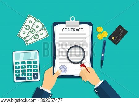 Contract Icon. Paper Document With Pay Agreement. Businessman Is Paperwork, Calculate Money, Stamp S