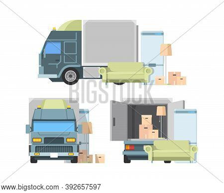 Move Container Inside Truck. Package Loading Moving From Home Cargo Transportation Service Vector Il