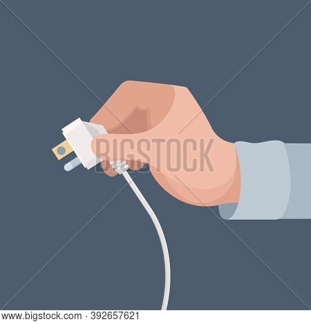 Electric Plug In Hand. Safety Home Energy Home Electric Appliance Vector Concept. Illustration Safet