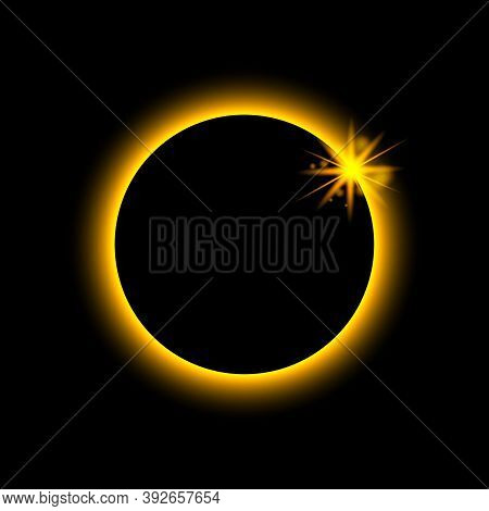 Total Eclipse Solar. Sun Planet Glows In Ring. Circle Earth In Fire. Moon Light On Night Space. Full