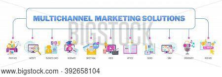 Multichannel, Omnichannel Marketing Solutions. Flat Vector Illustration