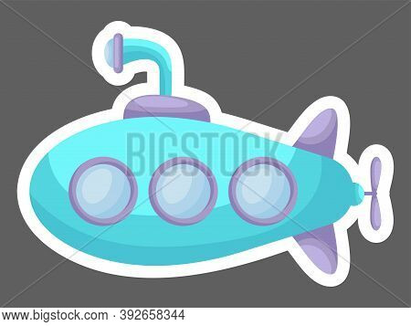 Cartoon Turquoise Submarine With Periscope For Design Of Notebook, Cards, Invitation. Cute Sticker T