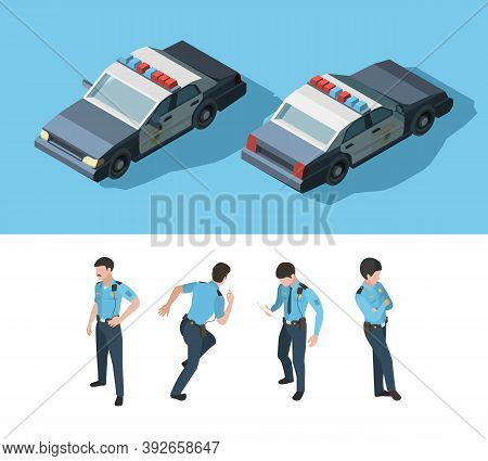 Policeman Isometric. Guard Officer Security Standing Professional Transport Various Point View Vecto